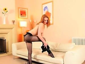 neat black pantyhose and redhead strip