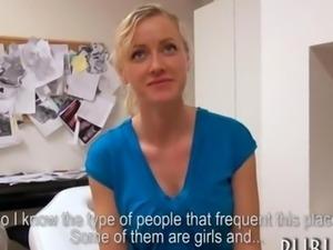 Massive tits blonde Czech slut fucked for money