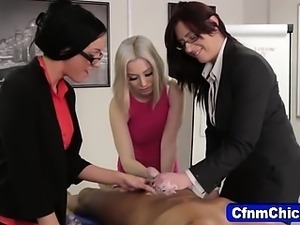 Clothed nasty dominas cock tugging
