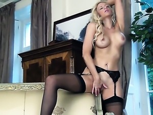 Samantha Alexandra with massive tits and trimmed snatch shows her love for...