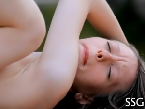 Playing with her natural tits makes beauty awfully lusty
