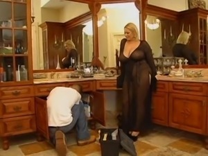 Blonde With Huge Boobs Takes Big Load BVR