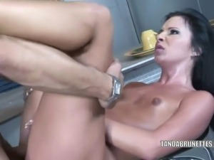 Petite brunette Ashli Orion is at the bar and getting nailed with a stiff cock