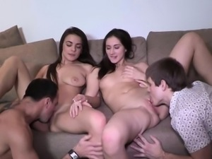 Sexy Teens Carly And Adel Get Wild In A Foursome