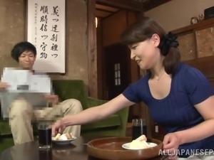 mature lady sucks off her man