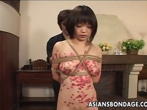 Stunning Japanese tart moans while a smutty dude is tying her body up with...