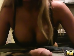 Blonde Phoenix Marie with huge hooters and smooth pussy shows it all and then...