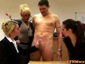Tough FEMDOM CFNM matures wanking guy and punish him hard