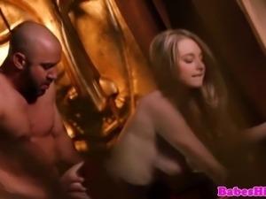 Blonde busty glamour babe makes love to her boyfriend