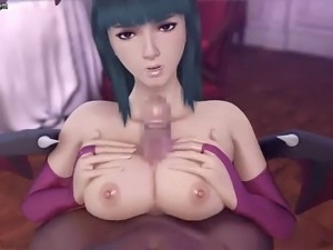 Gorgeous animated brunette gets tits fucked