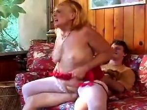 Horny grandmother wearing white stockings, sucks and fucks her grandson hard...