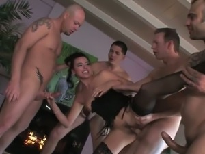 Sexy danica gets gangbanged by five horny studs.