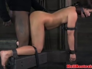 Spider gagged bitch getting caned roughly and cant get enough