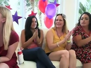 Clothed amateur skanks hungry for cock