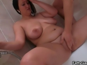 Wet BBW deepthroats and rides his meat