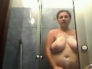 Fat Housewife Having A Shower