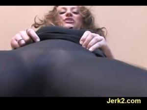 Teasing Carmen in sexy sheer pantyhose