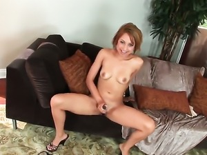 Veronique Vega with small tits and clean pussy fucking herself like mad in...