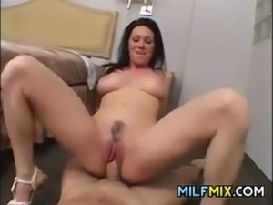 Beautiful brunette woman sucking and fucking that cock