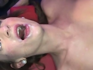 Two sexy young sluts lose their bukkake virginity