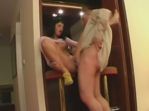 Brunette bartender has a threesome with clients