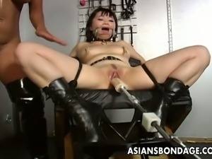 Blonde mistress toys her asian slave into heaven