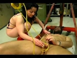 Mistress plays with her slave