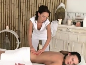 Lesbian masseuse tribbing sexy customer
