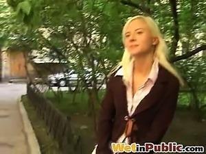 Cutie piss-wetting her white breeches