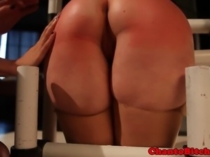 Blonde bdsm lezdom sub gets spanked hard