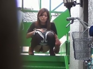 Hairy Japanese teens caught on cam while pissing.