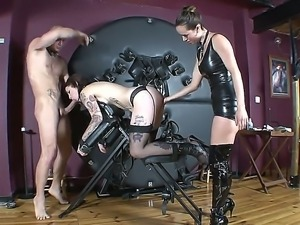 This naughty, pierced and tattooed bad girl is shown for the house-playing,...