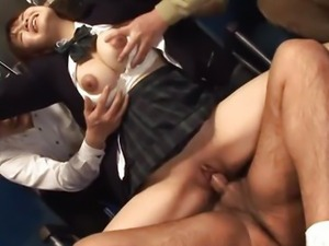 Japanese Schoolgirl Yayoi Yoshino fucked in bus uncesnored