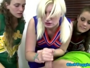 Handjob amateur cheerleader jerks dick with help from her friends