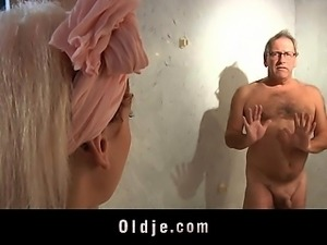 Old hotel client fucks the horny young maid