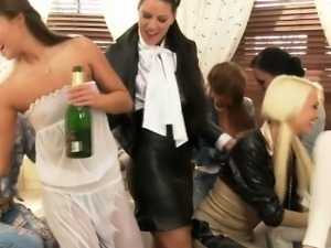 Clothed glamour babes showering and stripping