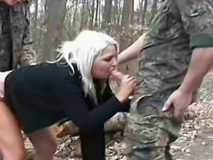 A hot blonde amateur teen girlfriend homemade outdoor hardcore threesome...