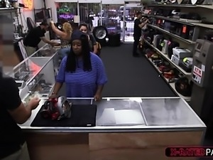 College girl gone wild in a pawnshop