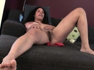 Busty MILF Shannon Rubbing Her Hairy Cunt