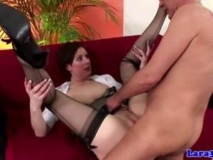 Stockings wearing british milf pounded from behind
