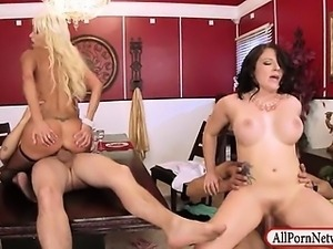 Two married couples enjoying each other in this foursome