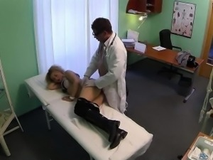 Blonde babe sucks cock and gets fucked by her doctor