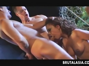 Craving Asian hottie moans while two dudes are boning her hard. Another babe...