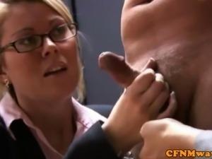 CFNM jerking loving business ladies being naughty
