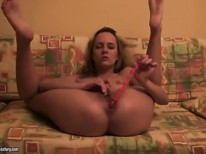 Blonde tart Blue Angel masturbating with wild enthusiasm