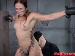 Zipper clamped submissive learns discipline and she cant have enough