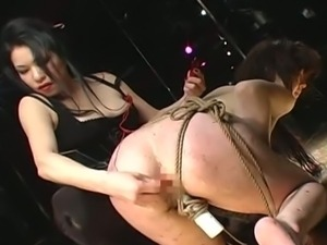 Delicate slave bound by her stunning mistress