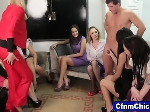 Clothed cfnm mistresses jerk victim