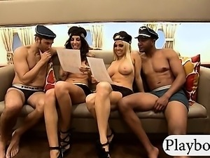 Big boobs blonde and brunette babes foursome in reality show