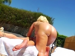 Hardcore interracial action with this Anal buffet outside by the swimming...